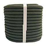 YUZENET Static Rock Climbing Rope 2/5 Inch 100 Feet Outdoor Safety Fire Escape Rope Rappelling Rope, ArmyGreen
