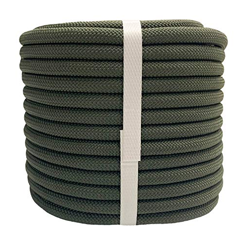 """YUZENET Braided Polyester Arborist Rigging Rope (3/8"""" X 100') Strong Pulling Rope for Climbing Sailing Camping Swings,ArmyGreen"""