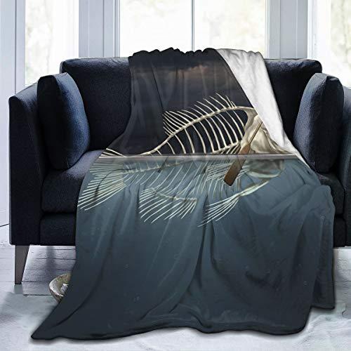 ZOANEN Soft Fleece Throw Blanket,Hombre con Esqueleto de Pescado en el mar Kayak Clima Estilo de Vida,Home Hotel Sofá Cama Sofá Mantas para Parejas Niños Adultos,100x120cm