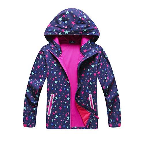 MGEOY Kids Rain Jackets Light Waterproof Hooded Rain Coats Windbreakers for Girls Star 8/9