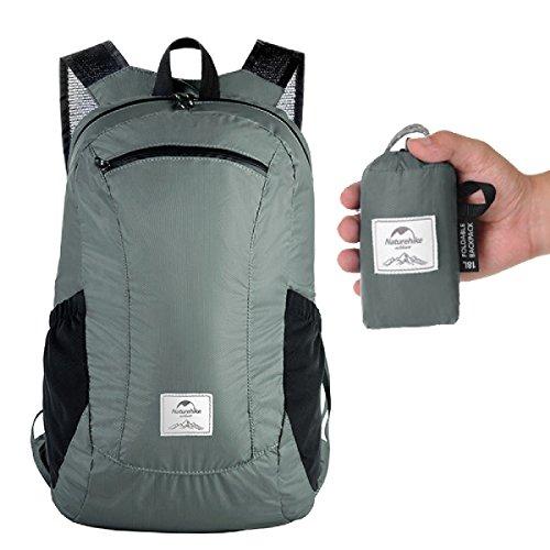TRIWONDER 18 / 25L Rucksack, Leichter Daypack, Praktischer Faltbarer Backpack für Camping Outdoor Wandern (Grau - 18L)