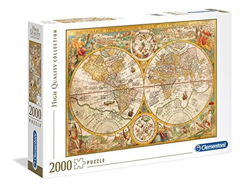 Clementoni Pingüinos De Madagascar Puzzle 2000 Piezas Mapa Antiguo (32557), Multicolor