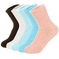 Zando Women Warm Super Soft Plush Slipper Sock Winter Fluffy Microfiber Crew Socks Casual Home Sleeping Fuzzy Cozy Sock