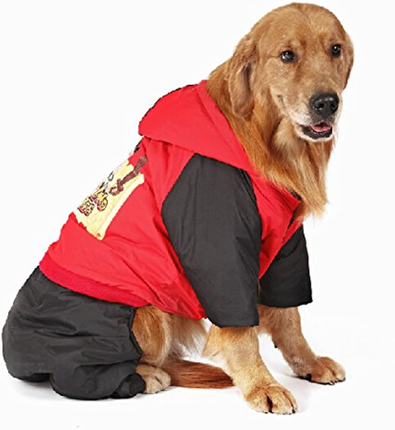 Pet dogs warm Costume Autumn and winter Medium Large Hoodies cotton coats golden Retriever Samoyed dog Clothes Red XL