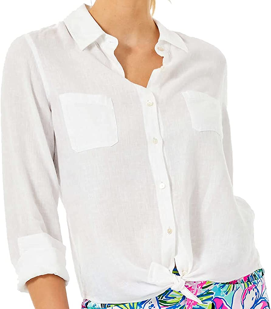 Lilly Pulitzer - Sea View Lace Linen Button Down Blouse - Resort White