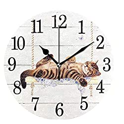 Wamika Round Wall Clock Cat on Swing White Vintage Wooden Clock Silent Non Ticking Wall Decorative,Kitty Cute Cats Flowers Butterfly Clocks 10 Inch Battery Operated Quartz Quiet Desk Clock for Home