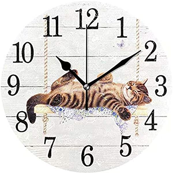 Wamika Round Wall Clock Cat On Swing White Vintage Wooden Clock Silent Non Ticking Wall Decorative Kitty Cute Cats Flowers Butterfly Clocks 10 Inch Battery Operated Quartz Quiet Desk Clock For Home