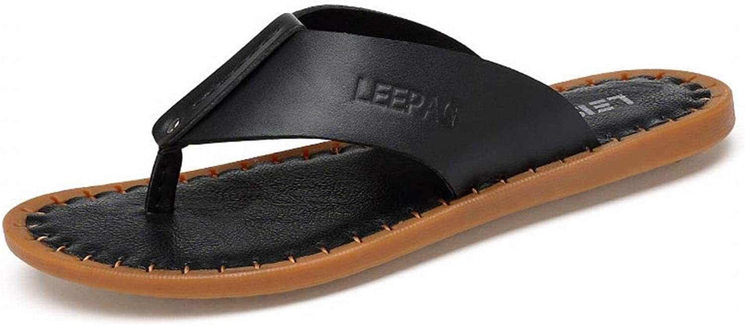 Summer Leather Flip-Flops Handmade Cool Men's Slippers Beach shoes (color   Black, Size   40)