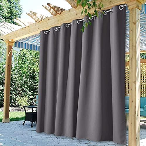 StangH Outdoor Waterproof Curtains for Patio Extra Wide Heavy Duty Shading Blackout Thermal Insulated Drapes for Front Porch Sliding Door, 1 Panel, Grey, Wide 100 x Long 84 inches