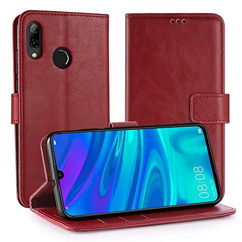Simpeak Hülle Kompatibel mit Huawei P Smart 2019 / Honor 10 Lite [6,21 Zoll], Handyhülle Kompatibel für Huawei P Smart 2019 Leder Flipcase [Kartensteckplätze] [Stand Feature] - Rot