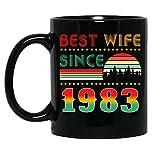 N\A Vintage Best Wife dal 1983 Sposato Anniversary Celebration Tazza in Ceramica Tazze da caffè grafiche Tazze Nere Tazze da tè novità Personalizzata 11 Oz