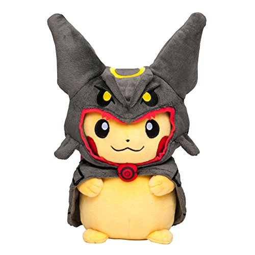 "Pokemon Center Tokyo Sky Tree Town Poncho Pikachu Rayquaza Black 9"" Plush Mascot Stuffed Doll"
