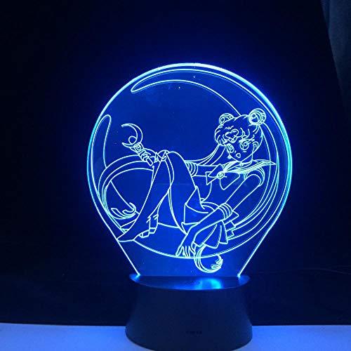 Lámpara de ilusión 3D Sailor Moon Anime7 cambio de color USB acrílico regalo niños cumpleaños luz de noche dormitorio decoración de habitación bebé niños-16 color remote control