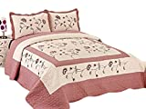 3pc Nice Design 102x94 Beige/Rose Fully Quilted Embroidery Bedspread Coverlets Bed Cover Pillow Sham Set