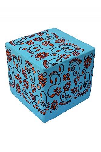 Orientalischer eckiger Pouf aus Baumwolle inklusive Füllung | Marokkanisches Sitzkissen Sitzpouf Kissen Bahar blau 45cm Eckig | Marokkanischer Hocker Sitzhocker Fusshocker Bestickt | Farbe auswählen