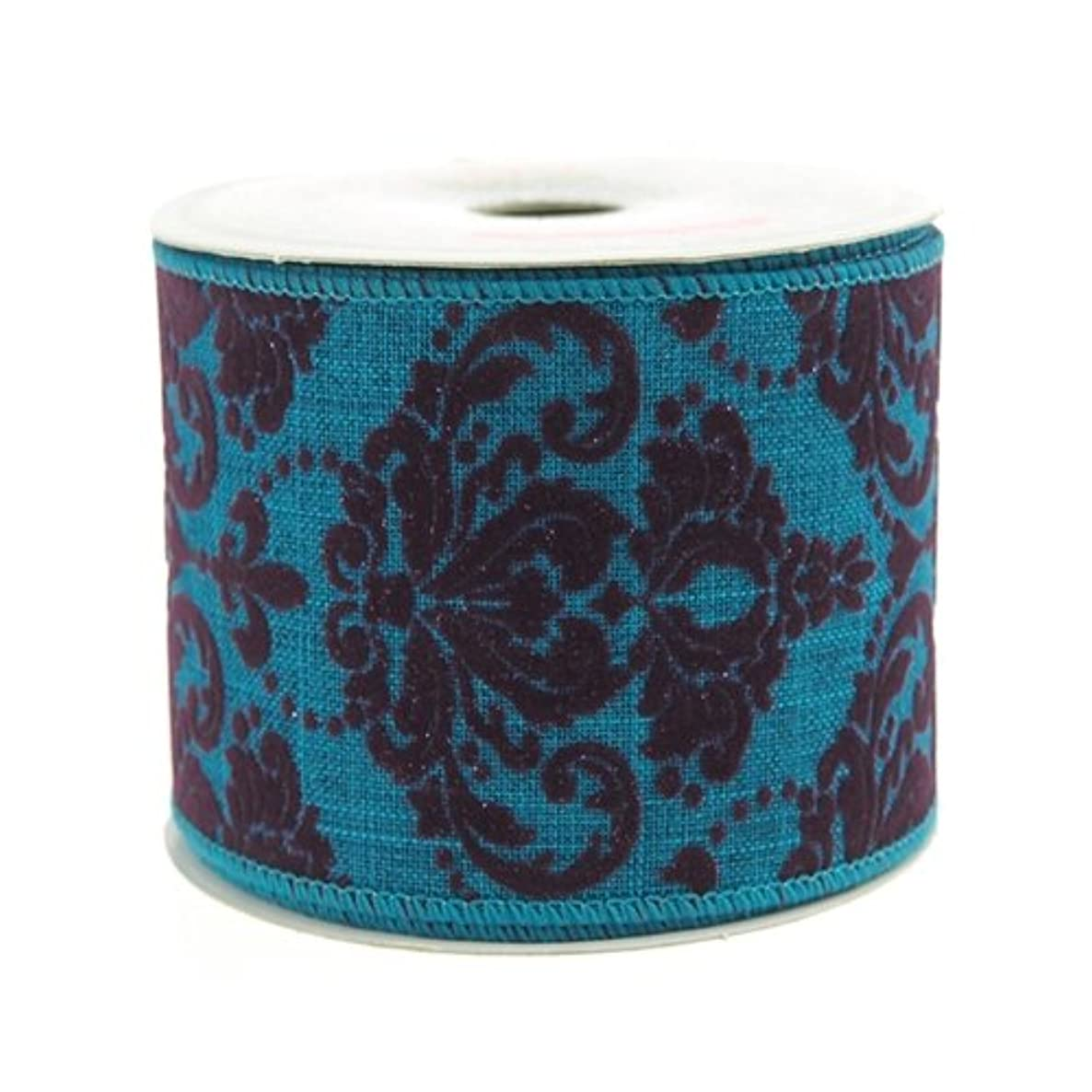 Homeford Firefly Imports Flocked Damask Canvas Ribbon, 2-1/2-Inch, 10 Yards, Turquoise,