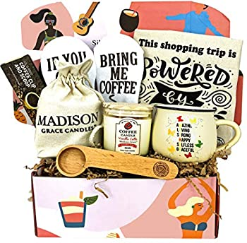 Coffee Lover Gift Set for Mother by Silly Obsessions Birthday Basket Box for Mom Wife Coffee Themed gifts for New Moms Baby Shower.