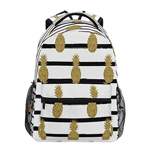 Laptop Backpacks for Men Women,High School Bookbag Bag,Travel Daypack,Unisex Rucksack Pineapples Gold Glitter
