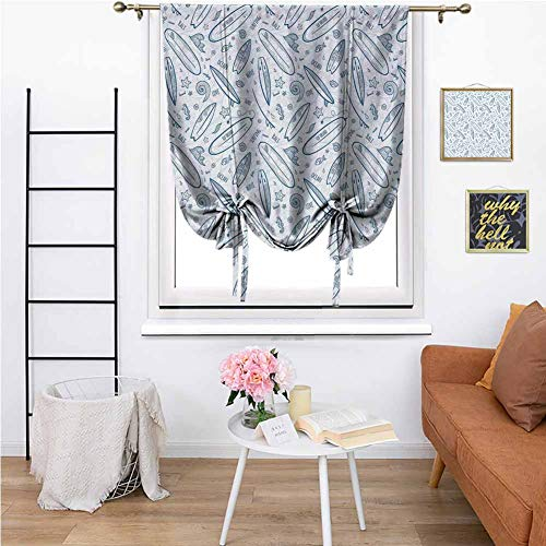 Tie Up Roman Curtain, Surfboard Blackout Curtains Doodle Surfing Boards Waves and Starfishes Hawaiian Summer Blackout Curtains for Bedroom for Bedroom 48'x72' Dark Petrol Blue Slate Blue White