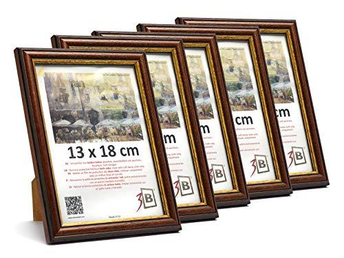 3-B Set de 5 pièces Cadres Bari Rustique - foncé Brun - 13x18 cm - Cadre en Bois, Cadre pour Photo