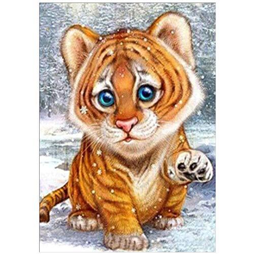 Gcomxj Pintura de Diamante 5D de Bricolaje Tigre de Dibujos Animados Lienzo preimpreso Decoración de la Pared de la Sala de Estar del Hotel de la Cocina Familiar 50x 60cm