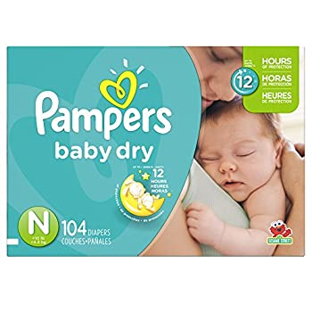 Diapers Newborn/Size 0  < 10 lb  104 Count - Pampers Baby Dry Disposable Baby Diapers Super Pack