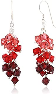 925 Sterling Silver Colored Faceted Crystal Beads Dangle Hook Earrings