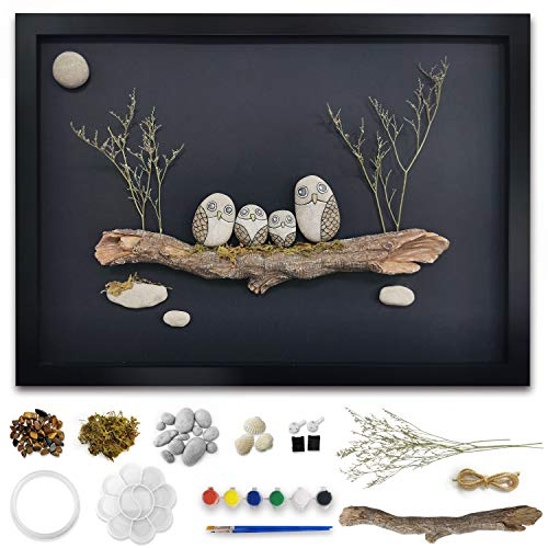 DIY Kits for Adults, Framed Rock Art Painting Kit, Craft Kits for Women And Kids, 3D Rock Wall Art Decor 17.7*12.9 Inches, Bingo Castle