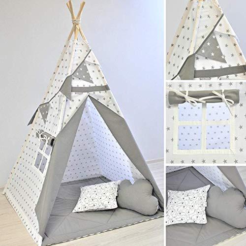 Tipi, Kinder-Tipi, Sterne auf weiß und grau Tipi, Indianerzelt, Tipi-Zelt für Kinder, Spielzelt, Tipi-Zelt,