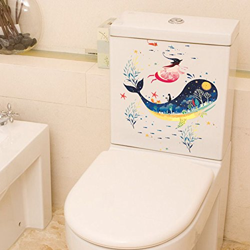 Rainbow Fox Animal Stickers muraux Mignonne Dauphin Requin et Tortue Toilette Couverture Autocollants carnet/frigo Autocollants (ZY261)
