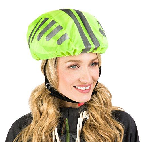 Protecticure Hochwertiger Helmüberzug für den Fahrradhelm - Regenschutz 360° Rund-Um-Reflektoren - Wasserdichter Fahrrad Regenüberzug - Unisex Helmregenüberzug Helmschutz reflektierend