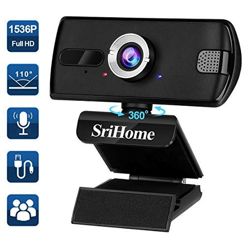Webcam PC con Microfono ENONEO 110° Grandangolo Webcam HD...