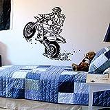 Dirtbike Wheelie Tatuajes De Pared Deportes Vinilo De Pared Pegatinas De Arte Para Habitaciones De Niños Niños Decoración Del Hogar Vinilos Paredes Moto X Murales Color Personalizado 56X60Cm