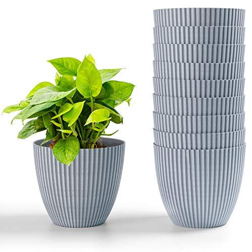 HOMENOTE 6 Inch Flower Pots, 10pcs Plastic Plant Pots Indoor Modern Decorative Pots for...