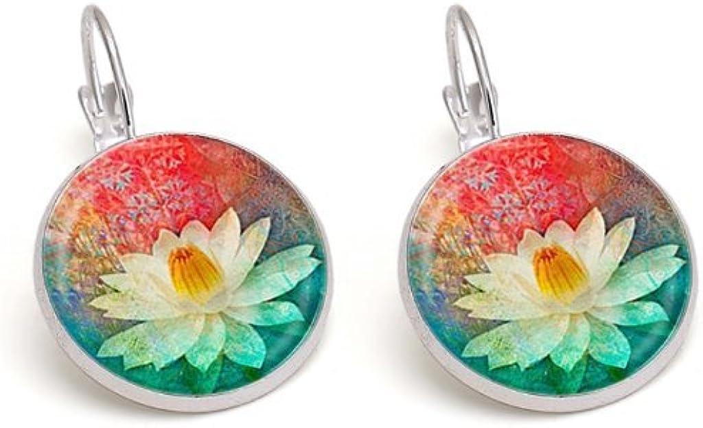 Lotus mandala earrings jewelry vintage yoga glass cabochon earring women's jewelry