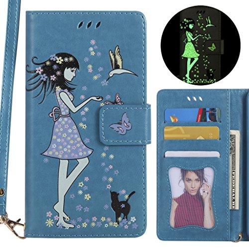 Ougger Handyhülle für Huawei P10 Lite (was-LX3, WAS-L03T, WAS-LX2J) Hülle, Bling Entwurf Tasche Leder Schutzhülle Schale Weich Tasche Magnet Silikon Flip Cover mit Kartenslot (Blau)
