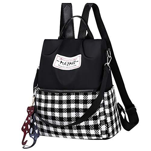 Van Caro Women's Oxford Plaid Backpack Purse Anti-Theft Nylon Rucksack Shoulder Bag Size: One Size