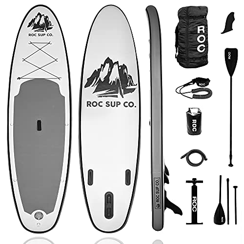 Roc Inflatable Stand Up Paddle Board with Premium sup Accessories & Backpack, Non-Slip Deck, Waterproof Bag, Leash, Paddle and Hand Pump. (Carbon)