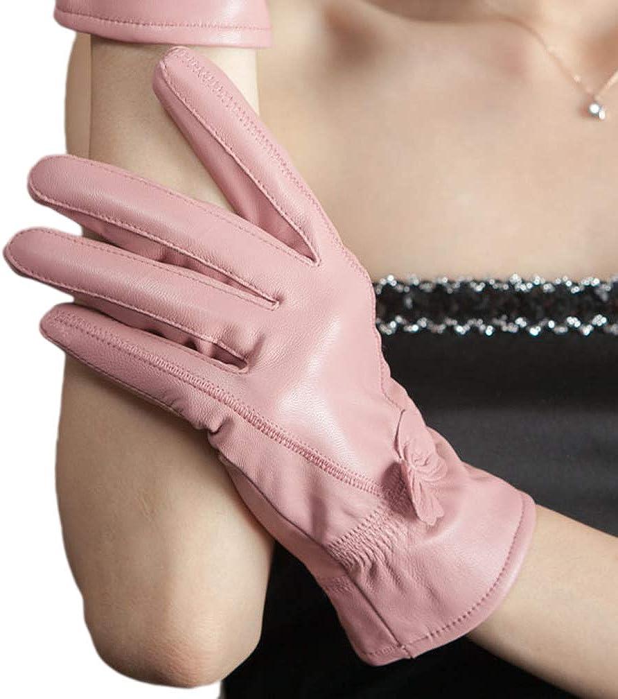 Belyee 2019 Womens Real Lambskin Leather Winter Gloves Fleece Lined Warm Mittens
