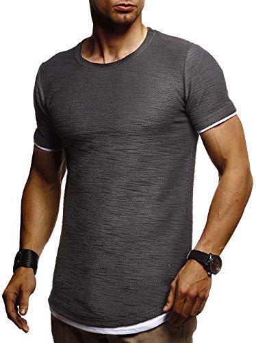 Leif Nelson Herren Sommer T-Shirt Rundhals-Ausschnitt Slim Fit Baumwolle-Anteil Moderner Männer T-Shirt Crew Neck Hoodie-Sweatshirt Kurzarm lang LN8223 Anthrazit Large