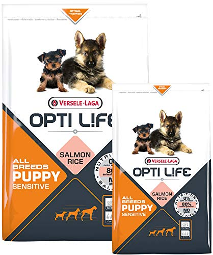 Opti Life Puppy Sensitives 2,5 kg - Crocchette MONOPROTEICHE al Salmone per Cuccioli di Tutte Le Taglie