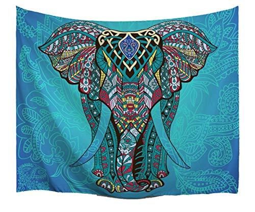 A.Monamour Tapices Azul Mandala Elefante Telón De Fondo Tribal Tatuaje Patrón Indio Hippie Temática Tela Colgante Tapicería Decoraciones para Dormitorio Accesorios 102x153cm