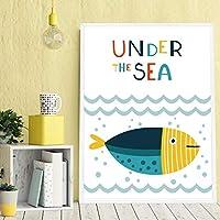 漫画の魚のキャンバスアートポスターとプリント写真現代のミニマリズム家の装飾絵画-40x60cmフレーム付き