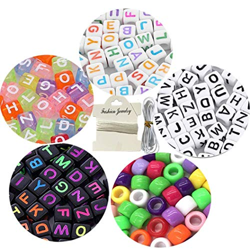 1050pcs Acrylic Alphabet Letter Beads Kandi Beads'A-Z' Cube Beads 4 Colors with Colorful Beads for Kids DIY Necklace Bracelet,2 Beading Cords Included (6mm)