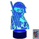 YJS LED Colorful Illusion 3D Cute Girl Sinon USB Night Light SAO Anime Figure Female Sniper Decor Table Lamp Popular Manga SAO GGO Ornament Gift Kids Bedroom Lighting Remote Bedside Lamp