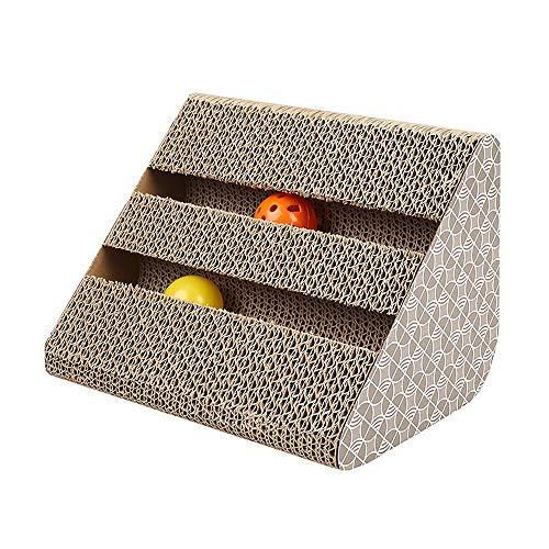 PPuujia Rampa de juguete para gatos, cartón corrugado con bola de campana, juguete para jugar a los arañazos para gatos, para mascotas y gatos, para el cuidado de las garras (color: blanco, tamaño: M)