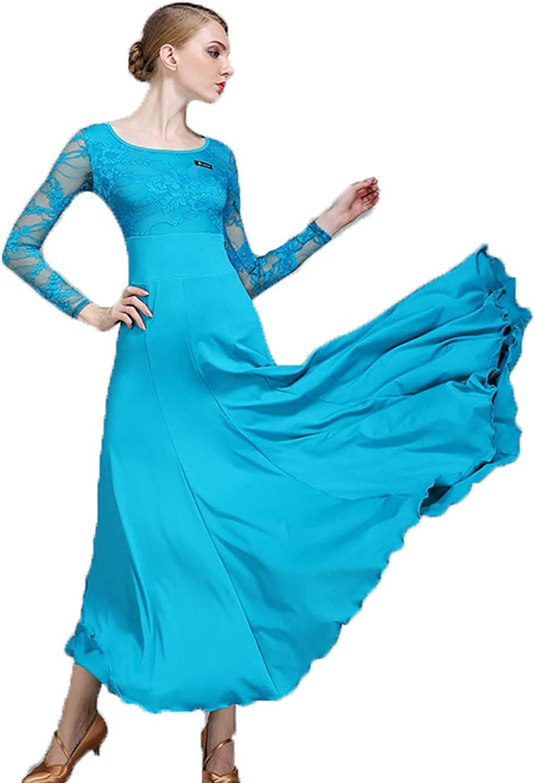 Women Practice Dance Skirt Latin Dance Costumes Classic Belly Dance Skirt Long Sleeves Dress blueee Lacy Milk Fiber Ballroom Dancing Plus Size XL 2XL Prom Dress
