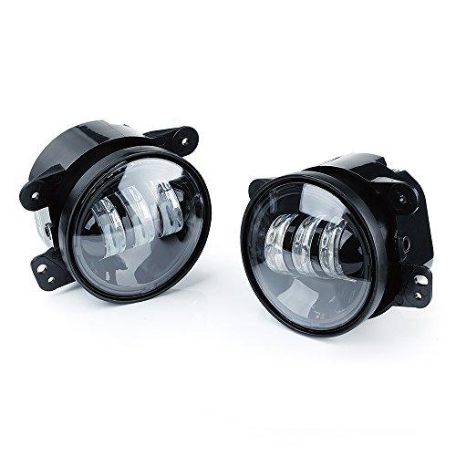 Xprite 4  Inch LED Fog Lights | White CREE Led Chip Fog Lamp Compatible with 2007-2018 Jeep Wrangler Unlimited JK Driving Off Road Fog Light