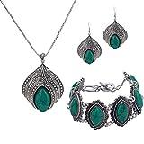 YAZILIND Diseño Especial de Sistemas de la joyería Pendientes de Gota Colgante de Collar de la Flor de la Turquesa de la Garra de Plata Verde Retro Plateado Pulsera con Encanto