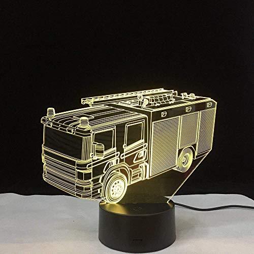 3D-Illusionslampe 3D-Nachtlicht LED-Tischlampe Kinder-Nachtlampe Feuerwehrauto-Lampe Visuelle optische Illusion Neuheitslampen Tabelle 7 Farben Wechselleuchten Kinderzimmerleuchten mit
